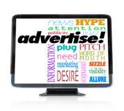 Adverteer Marketing Woorden op HDTV Televisie stock illustratie