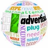 Adverteer Marketing Word de van de Bedrijfs bolplaneet Blootstellingsgroei vector illustratie