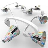 Adverteer Megafoon Megafoons de Verbonden Uitspreidende Marketing knoeit vector illustratie