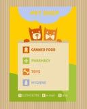 Adverteer opslag voor huisdieren Pictogrammen voor dierenwinkel royalty-vrije illustratie
