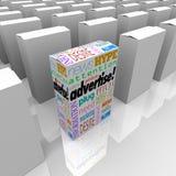 Adverteer Woorden bij de Plank van de Doosopslag de Unieke Marketing Stock Fotografie