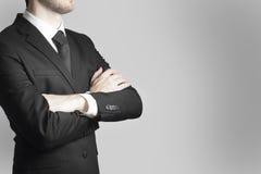 Advertencia cruzada jefe del trabajo de los brazos del hombre de negocios Fotografía de archivo