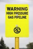 Advertencia de alta presión del gaseoducto Imagenes de archivo