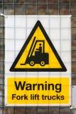 Advertencia de la carretilla elevadora Foto de archivo
