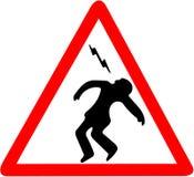 Advertencia de la descarga eléctrica, riesgo de muertos Persona autorizada solamente muestra del símbolo amonestador aislada en e Imagen de archivo libre de regalías