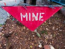 Advertencia de la mina Fotografía de archivo libre de regalías