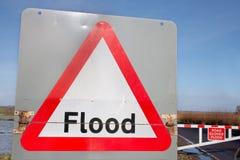Advertencia de la muestra de la inundación por la inundación Fotos de archivo