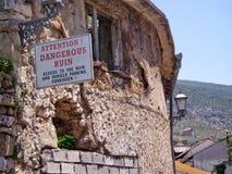 Advertencia de la muestra del daño de guerra Imagen de archivo libre de regalías