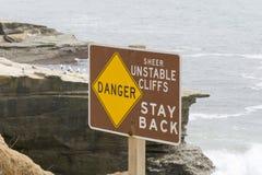 Advertencia de la muestra del peligro de la erosión Fotografía de archivo libre de regalías