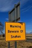 Advertencia de la muestra de serpientes Fotos de archivo libres de regalías