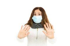 Advertencia de la mujer de la gripe Fotos de archivo libres de regalías