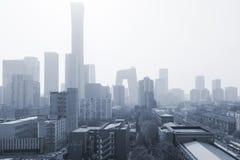 Advertencia de la niebla con humo imagenes de archivo