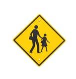 Advertencia de la señal de tráfico de la escuela peligrosa. Aislante en el backgrou blanco Imagen de archivo