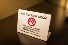 Advertencia de no fumadores de la muestra del sitio con la tarifa Imagenes de archivo