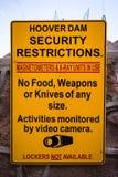 Advertencia de seguridad de la Presa Hoover Imagenes de archivo
