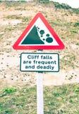 Advertencia del acantilado Imagen de archivo libre de regalías
