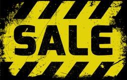 Advertencia del amarillo de la muestra de la venta Imágenes de archivo libres de regalías