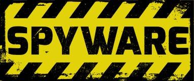 Advertencia del amarillo de la muestra del Spyware Imágenes de archivo libres de regalías