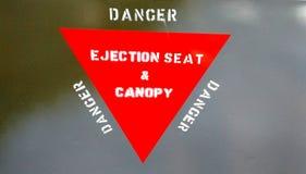 Advertencia del asiento eyectable Fotografía de archivo