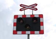 Advertencia del cruce ferroviario Imágenes de archivo libres de regalías