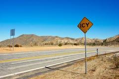 Advertencia del hielo en el desierto Imagenes de archivo
