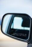 Advertencia del objeto del espejo de coche de la vista posterior Foto de archivo