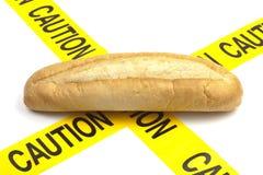 Advertencia dietética o advertencia de la alergia del gluten/del trigo Foto de archivo
