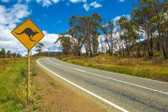 Advertencia: Muestra de la travesía del canguro Imagen de archivo libre de regalías