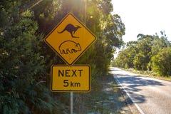 Advertencia: Muestra de la travesía del canguro y del wombat Imagenes de archivo