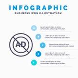 Advertentie, Advertentieblok, Reclame, Reclame, het pictogram van de Bloklijn met infographicsachtergrond van de 5 stappenpresent stock illustratie