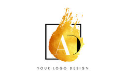 ADVERTENTIE Gouden Brief Logo Painted Brush Texture Strokes Royalty-vrije Stock Foto's