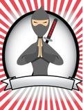 Advertentie van de Banner van Ninja van het beeldverhaal de Ovale Stock Afbeelding