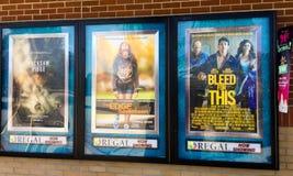 Advertenties voor films bij Vorstelijke Bioskoop in Summerville, Sc royalty-vrije stock afbeelding