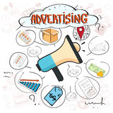 Adverterend de Digitale Marketing Hand van de Bevorderingskrabbel trek Schetsachtergrond royalty-vrije illustratie