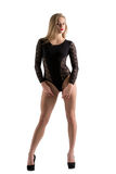 Adverterend ondergoed Leuk model in sexy bodysuit Royalty-vrije Stock Foto's