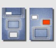 Adverterend vliegerontwerpsjablonen met jeansachtergrond en met vierkante genaaide denimgaten Kan worden gebruikt om pamfletten,  stock illustratie