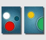 Adverterend vliegerontwerpsjabloon met blauwe denimachtergrond en met ronde genaaide jeansgaten Kan worden gebruikt om pamfletten vector illustratie
