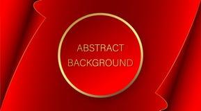 Adverterende banner Rode cirkel met een gouden slag op de achtergrond van een rood blad van document met gebogen randen abstracte vector illustratie