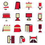 Adverterende bouw rode vlakke pictogrammen Stock Afbeelding
