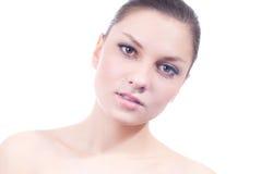 Adverterende jonge mooie geïsoleerde= vrouw Royalty-vrije Stock Foto