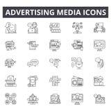 Adverterende media lijnpictogrammen De tekens van de Editableslag Conceptenpictogrammen: zaken, marketing, mededeling, mobiele be stock illustratie