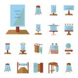 Adverterende raads vlakke pictogrammen Stock Foto's