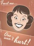 Adverterende retro vrouw Stock Afbeeldingen