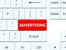 Adverterende rode toetsenbordknoop vector illustratie