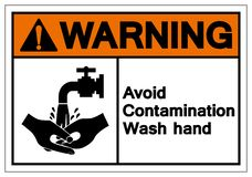 Advertindo evite o sinal do símbolo da mão da lavagem da contaminação, ilustração do vetor, isolado na etiqueta branca do fundo E ilustração stock