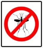 Advertindo, sinal proibido com o mosquito com Pare o vírus do zika Pare a malária Pare a dengue Imagem de Stock