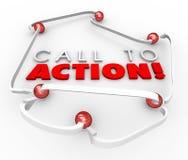 Шарики призыва к действию соединенные системной сетью выходя Advertis вышед на рынок на рынок Стоковая Фотография