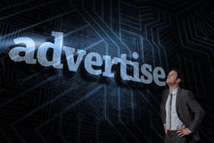 Advertise against futuristic black and blue background Royalty Free Stock Photography