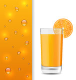 Advertise Banner with Orange Beverage and Drops Stock Images