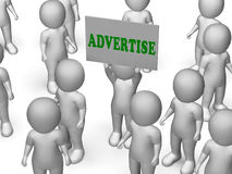 Advertise Board Character Means Marketing Stock Photos